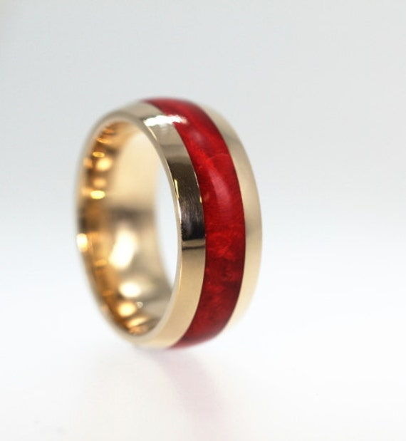 Ruby Red Wood Ring Yellow Gold Wedding Band By Jewelrybyjohan