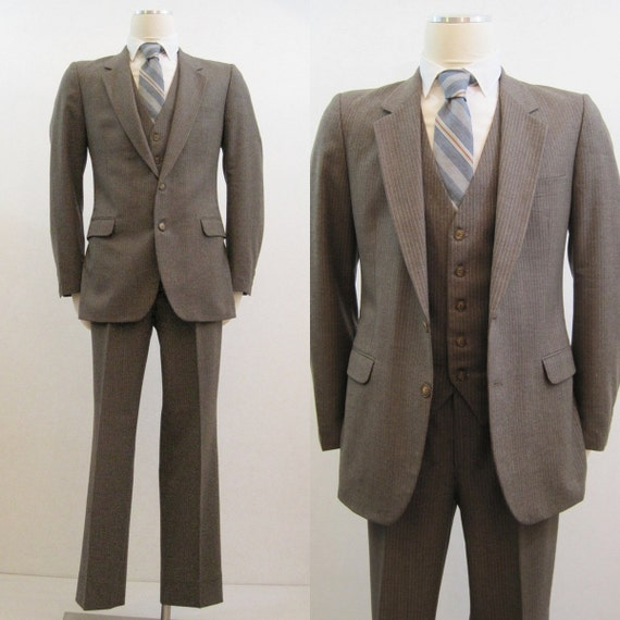 70s 80s Suit Vintage Men S Ysl Three Piece Brown