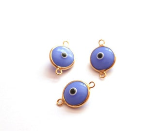 5 pcs- Gold Plated Blue Glass Eye connector-15x10mm (004-023GP)
