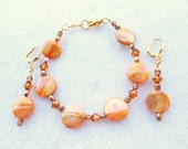 Apricot Coin Bracelet Earrings with Swarovski Crystals