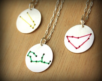 Zodiac Sign Constellation Necklace-65cm Chain- Personalized- Astrological Jewelry-Sterling Silver-