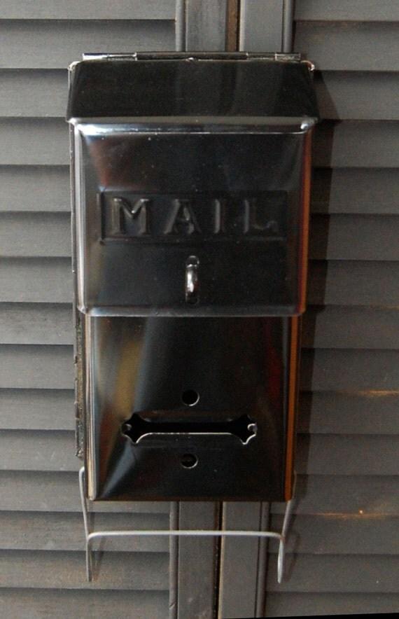 Vintage Black Metal Fulton Mailbox with Magazine Rack Lockable Christmas Mail Box