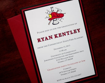 Red Line - Fire Academy Graduation Announcement or Invitation