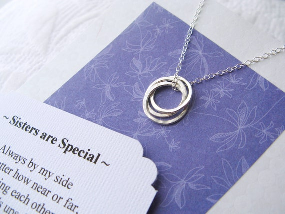 THREE SISTER Necklace With POEM - Sterling Silver Inseparable Rings for 3 Sisters Jewelry - Gift - Modern