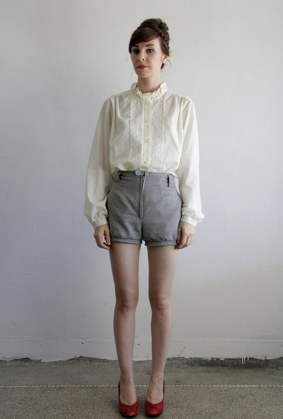 RESERVED Vintage 80s Blouse . Ruffle Collar . 1980s Shirt . Woven Design . FASHION LADY