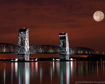 Moon over Marine Parkway Bridge, Gil Hodges Memorial Bridge, Nautical, Industrial, Brooklyn, Queens New York