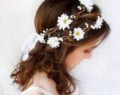 daisy flower crown, daisy headband, bridal crown, bridal flower crown, hippie flower crown, bridal floral crown, daisy hair, daisy wedding