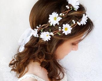 festival fashion, festival flower crown, hippie flower headband crown, daisy flower crown, daisy crown, flower headband, white flower crown