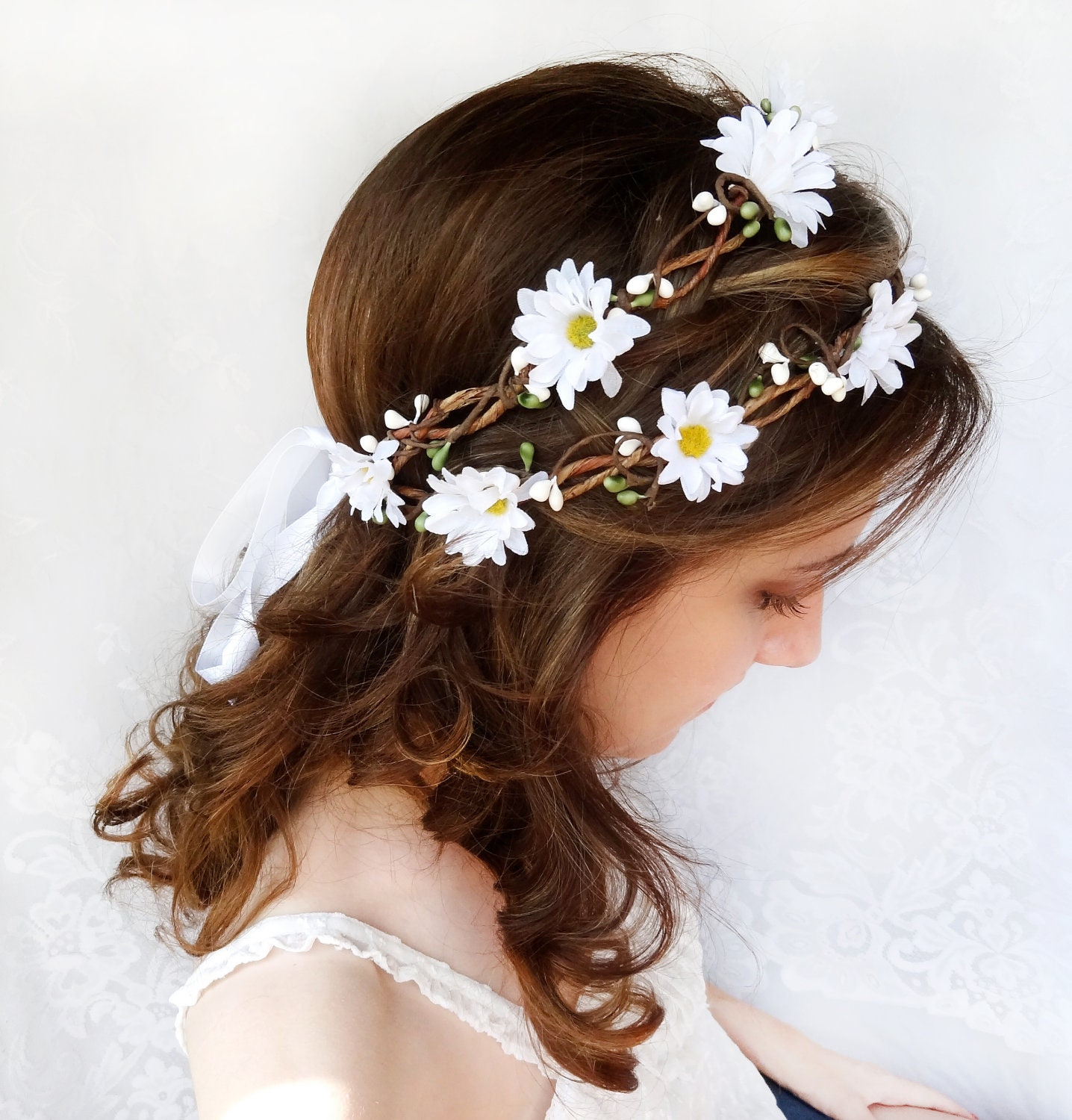 Flower crown wedding daisy headband daisy flower crown for Design accessoires