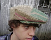 SALE! Drivers Cap- from Upcycled Coffee Bag- Ivy Flat Jeff Cap- Size 23 inch/ Hat Size 7 1/4