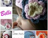Crochet Hat pattern- Belle- Cloche Style Hat with flower- Crochet Pattern ONLY