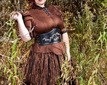 Steampunk Blouse Plus Size High Neck Victorian-Custom to Order 2XL and above
