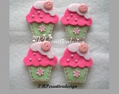 DOUBLE LAYERS Cupcake Felt Applique With Cute Button (mint green - pink) - Set of 4 pcs