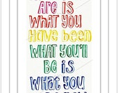 Home Decor, Rainbow ink, for her, for him, Print 5x7 of Buddha quote