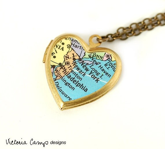 New York -  Philadelphia Map Necklace, Vintage Brass Heart Locket, Northeast, Map Jewelry, Travel - Ready to Ship