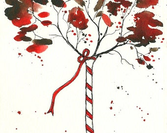 Holiday Collection, Candy Cane Tree, ORIGINAL 5 x 7, watercolor and ink