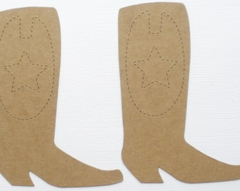 4 COWBOY BOOT w/ Star Emblem - Style 2 -  Raw Alterable CHiPBOARD Bare Die Cuts