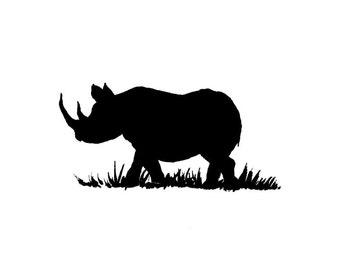 Black Rhinoceros Fine Art Print Rhino Minimalist Wildlife Animal