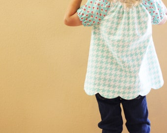 Peasant Dress & Blouse PDF Pattern with Scalloped Hem - Infant 0-3m to Girl's 6