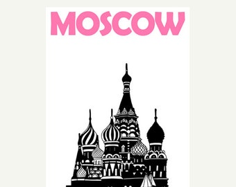 Moscow Poster (12x18 / 13x19) Russia Art Travel Poster