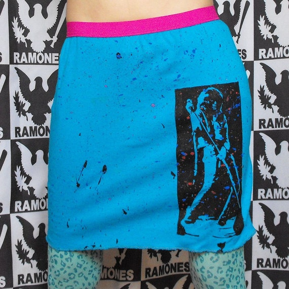 Joey Ramone Skirt Punk Mini Skirt Ramones Skirt Ramones Clothing Paint Splatter Skirt Neon Skirt Splattered Paint Punk Rock n Roll Skirt