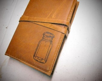 Leather Journal - Leather Sketchbook Cover - Personalize - Monogram - Mason Jar