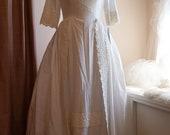 Wedding Dress // 50s Wedding Dress // Vintage 1950s White Lace Trimmed Wedding Dress by Cahill Ltd Beverly Hills Size L