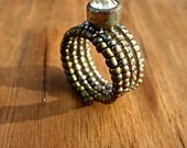 Beaded Adjustable Size 7 Wide Memory Wire Ring with Vintage Rhinestone Button: Bella