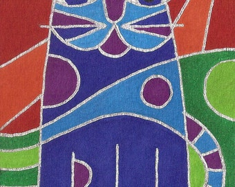Pop Art Cat by David Venne mono deluxe Needlepoint Canvas