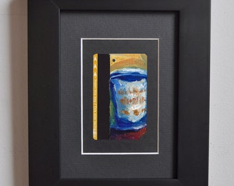 Art Oil Painting New York City Coffee Cup on Upcycled NYC Subway Card