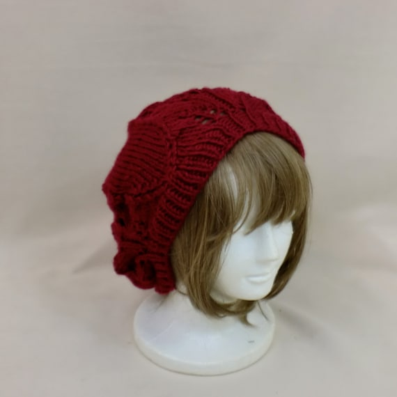 Red Slouchy Hat - Beret Lace Beanie - Baggy Slouch Dread Hat