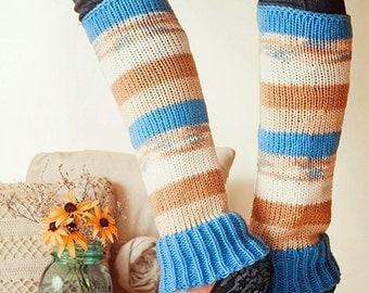 Knit Leg Warmers Knit Boot Socks Adult Legwarmers Womens Striped Leg Warmers Knee High Leg Warmers Blue Beige Brown Cream
