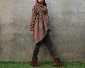 The look of love...Brown thick linen/cotton Autumn Jacket dress  Size XL