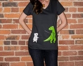 Polar Bear vs T-Rex Shirt V-Neck