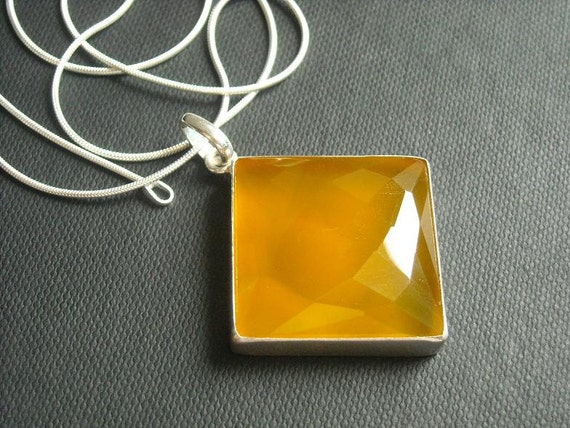 Canary yellow pendant - Square pendant - Bezel pendant - Canary pendant - Faceted gemstone pendant - Gift for her