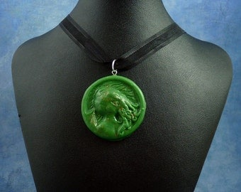 Green Cthulhu Cameo Necklace, Polymer Clay Lovecraft Jewelry