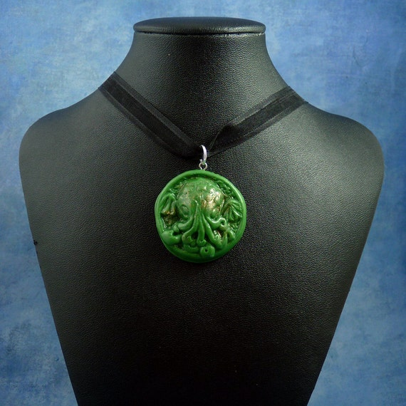 Green Small Cthulhu Cameo Necklace, Polymer Clay Lovecraft Jewelry