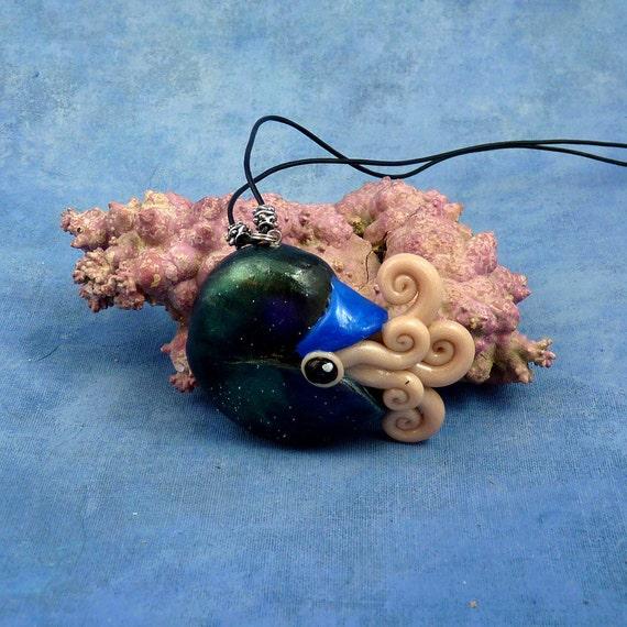 Deep Space Nautilus Necklace, Dark Polymer Clay Cephalopod Jewelry