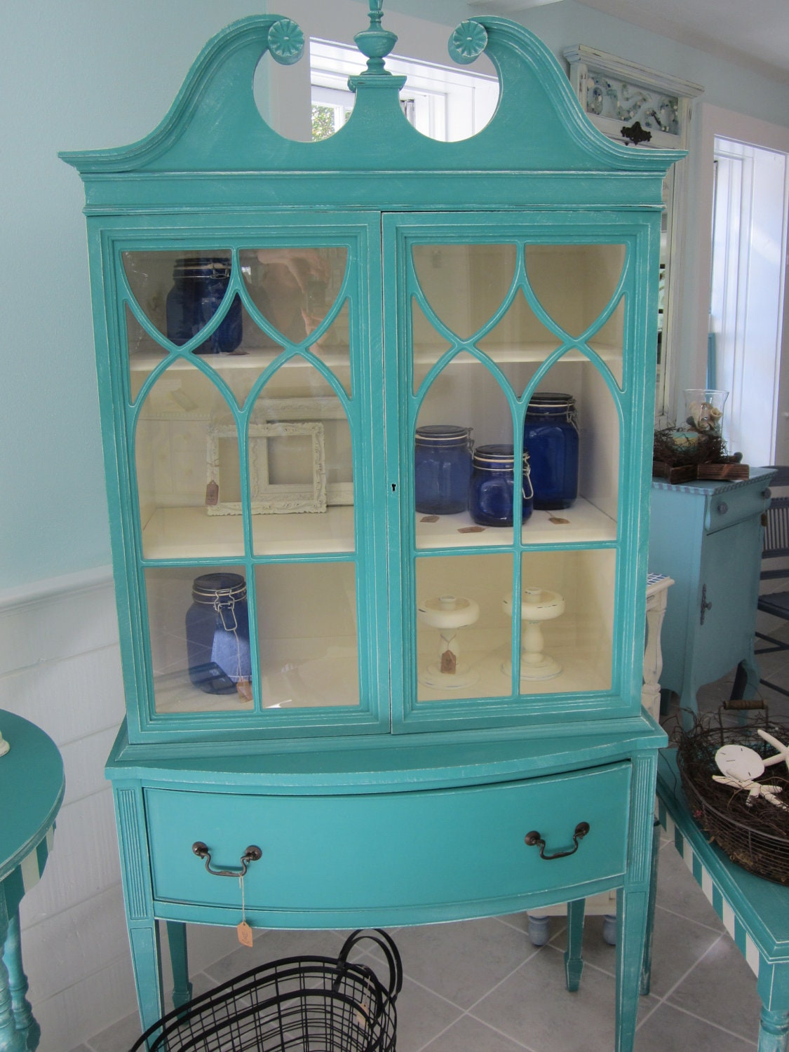 Holiday Sale Save 150.00 Off Distressed Antique China Cabinet