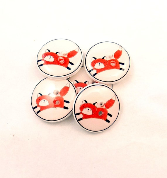 """5 Handmade Buttons. Fox Buttons. 3/4"""" or 20 mm Handmade Buttons. Resin sewing buttons.  Supplies."""