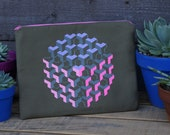 Isometric Orb Pattern Zippered Pouch- Tablet/Ipad/Kindle Pouch