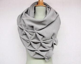 geometric wool shawl - superwarm sculptural wrap - triangular 100% wool scarf, light grey