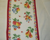 Vintage Fruit Towel or Runner Colorful Cherries Pears Peaches More