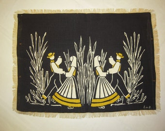 Vintage Scandinavian Textile Couples Dance at Harvest Time SIGNED