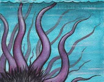 Signed and matted print of original Sea Monster watercolour painting by Eden Bachelder, ready to frame.