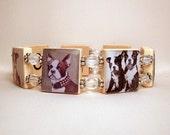 BOSTON TERRIER Bracelet / Scabble Jewelry - Tiles Spell WAGTIME Inside / Dog Lover / Unusual Gifts -1