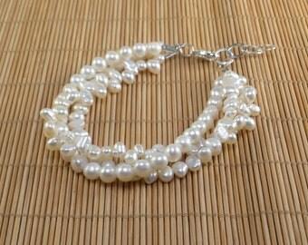 White Pearls MultiStrand Bracelet, Multistrand Bridal Pearls, Multistrand Bracelet, Freshwater Pearls, Multistrand Pearl Bracelet, White