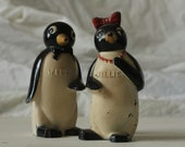 Vintage Penguin Salt and Pepper Shakers Plastic