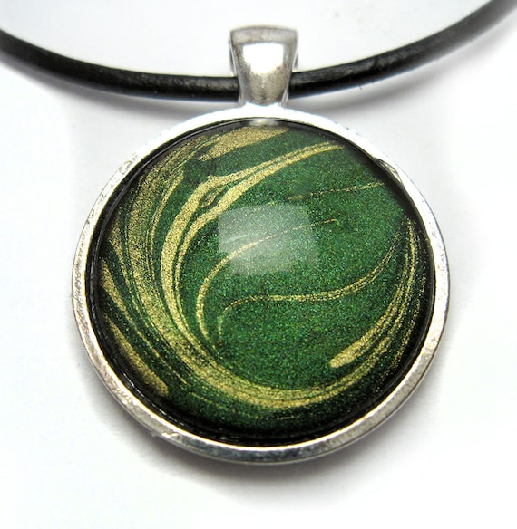 Nail Polish Marble Effect On Glass: Nail Polish Jewelry Round Water Marble Glass Pendant