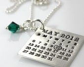 Mark Your Calendar Necklace hand stamped and personalized sterling silver necklace with Swarovski crystal dangle